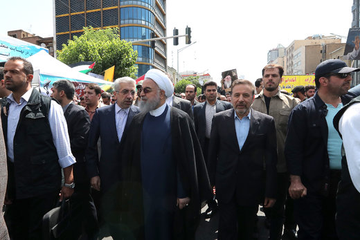 رئیسجمهور در راهپیمایی پرشور مردم تهران در روز جهانی قدس