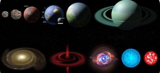 مقایسه اندازه هر آنچه در فضا هست/ اندازه زمین چقدر کوچک است؟