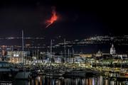 تصاویر | نمای فوران آتشفشان اتنا از ساحل سیسیل