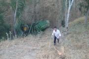 راننده کمباین به دره سقوط کرد اما سالم ماند