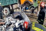 مرگ اعضای یک خانواده در برخورد موتورسیکلت و کامیون