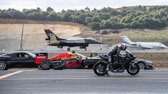 فیلم | تقابل سریعترینها؛ موتور کاوازاکی، هواپیما اف۱۶، خودروی تسلا، اف۱ و جت خصوصی