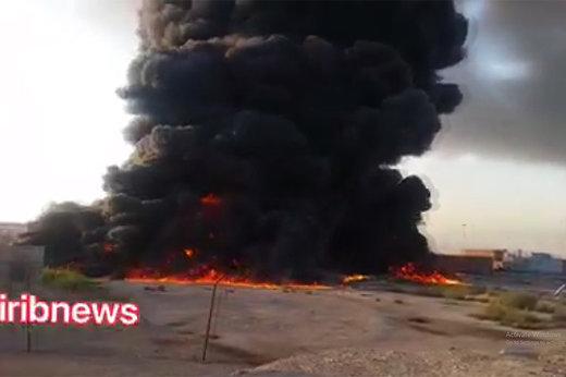 فیلم | آتشسوزی در منطقه آزاد بندر شهید رجایی