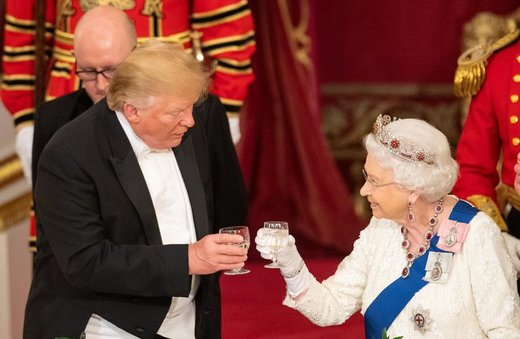 ضیافت الیزابت دوم، ملکه بریتانیا برای دونالد ترامپ رئیسجمهور آمریکا در کاخ باکینگهام لندن