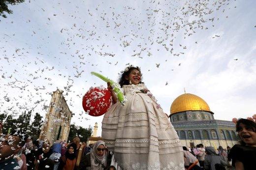 جشن عید فطر در شهر بیتالمقدس فلسطین