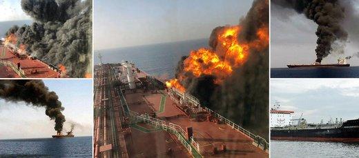 اولین پسلرزههای آتشسوزی نفتکشها در دریای عمان