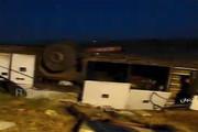 فیلم | صحنه واژگونی مرگبار اتوبوس تبریز - زنجان