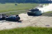 فیلم | نمایش له کردن بیامو با تانک آلمانی لئوپارد