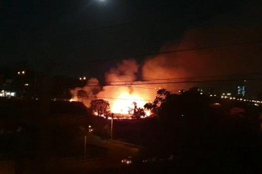 فیلم   آتشسوزی بزرگ در فضای سبز زیر پل مدیریت تهران