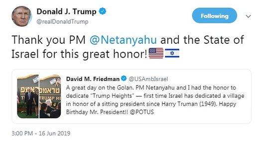تشکر ترامپ از نتانیاهو  که شهرکی  را در جولان را به اسم او زد