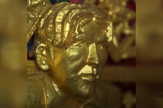 فیلم | مجسمه طلایی دیوید بکهام در معبدی در تایلند
