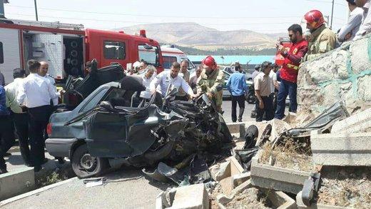 تصادف پراید در جاده دماوند