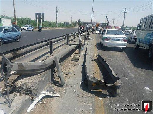واژگونی پژو پرشیا در جاده ورامین