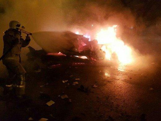 ۲ فوتی و یک جسد کاملا سوخته در تصادف نیمهشب اتوبان قم/ تصاویر