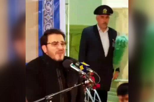 فیلم | گریه قاری ایرانی هنگام تلاوت آیات ۲۳ و ۲۴ سوره اسراء