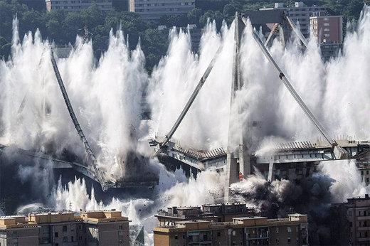 فیلم | تخریب بقایای پل جنوا با ۵۵۰ کیلو ماده منفجره