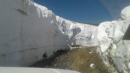 برف چند متری جاده اشنویه در بیستمین روز تابستان/ عکس
