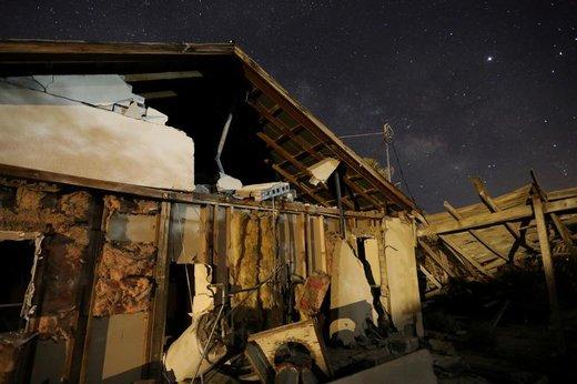 ویران شدن یک خانه در زلزله 7.1 ریشتری ایالت کالیفرنیا آمریکا