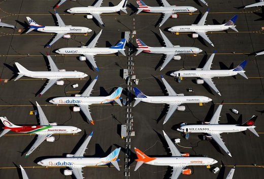 زمین گیر شدن هواپیماهای بوئینگ مکس 737 در شهر سیاتل ایالت واشینگتن آمریکا
