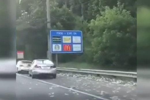 فیلم | بارش اسکناس در بزرگراه آتلانتا در جورجیای آمریکا!