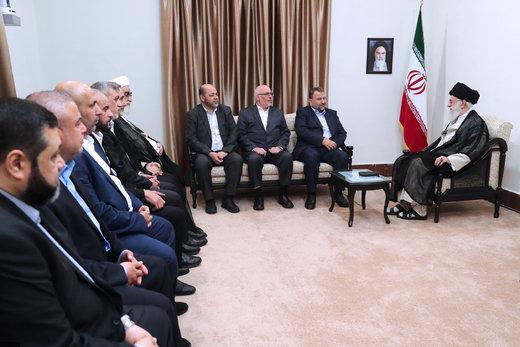 دیدار نایب رئیس دفتر سیاسی حماس و هیئت همراه با رهبر معظم انقلاب اسلامی