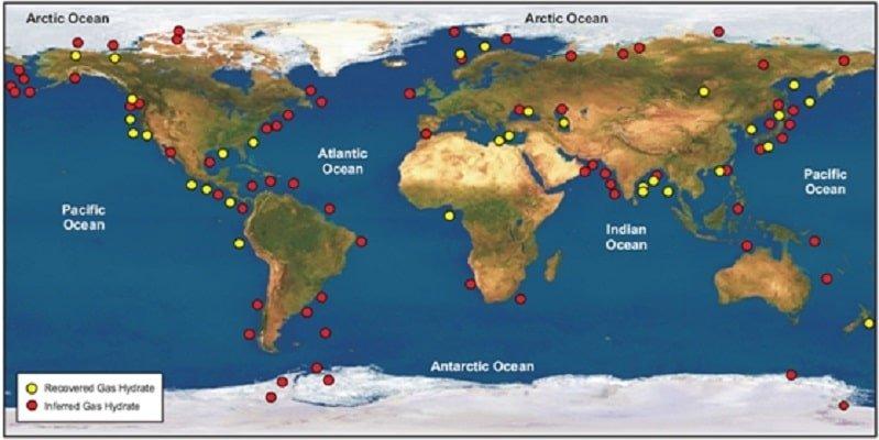 نقشه مخازن هیدرات گازی