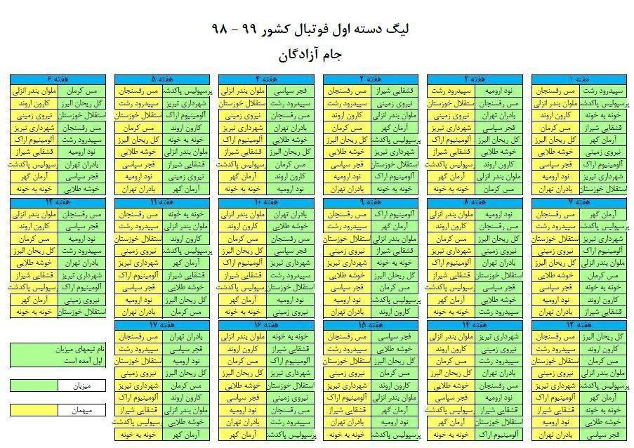برنامه لیگ دسته یک فوتبال ایران