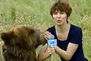 فیلم | لحظه وحشتناک حمله ناگهانی خرس به خبرنگار زن