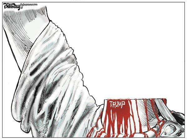 اینم امضای ترامپ پای مجسمه آزادی!
