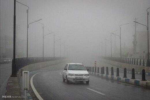 مه غلیظ در جاده کندوان و گدوک/ ترافیک عادی است