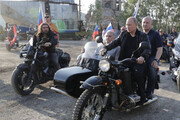 فیلم | موتورسواری پوتین در فستیوال موتورسواران در کریمه