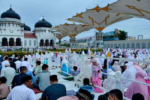 اقامه نماز عید قربان در شهر باندا آسه اندونزی