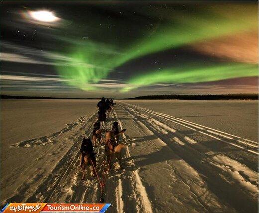 شش: سورتمهسواری با سگ برای دیدن شفق قطبی –نروژ-