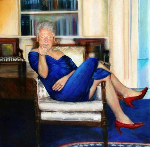 بیل کلینتون، رئیسجمهور اسبق آمریکا با لباس زنانه / عکس