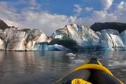 فیلم   لحظه سقوط یخهایی عظیم از یخچال آلاسکا