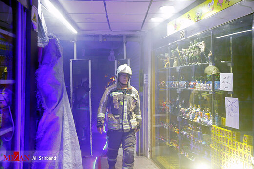 مانور اطفای حریق آتش نشانی در بازار تهران