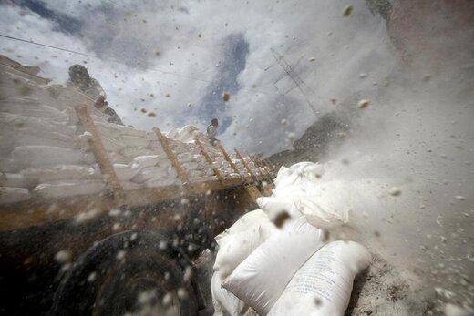 کارگران، کیسه های آرد گندم را در حومه شهر صنعا یمن مرتب میکنند که از سوی سازمان برنامه جهانی غذا تهیه شده است