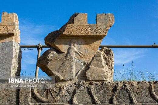مرد ارابهران تختجمشید که امروز فقط بخشی از تنه او روی سنگِ باقی مانده حجاری شده باقی مانده را روی یکی از دیوارهایی که به تالارهای تختجمشید منتهی میشود، جا گذاشتهاند، روایتی از تخریبِ تدریجی سنگهای حجاری شده که تا همین چند سال قبل نشانی از آنها نبود