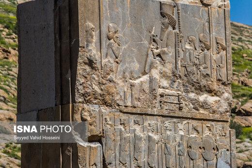 آپادانا دو جفت پلکان در دو طرف شمال و شرق خود دارد، که روی این دیوارههای سنگی، صفی از سربازان، بزرگان کشوری و 23 قوم هدیهآور از ایران حک شدهاند، در مرکز این پلکانها نقشی از پادشاه قرار دارد که در یک دست عصایی به نشانه پادشاهی دارد و در دست دیگرش گل نیلوفری را به نشانه صلح و دوستی تقدیم هدیهآوران میکند فلسفهی ساخت این دیوارههای سنگی با چنین مضامینی از یک طرف و آسیبهایی که هر روز به این دیوارههای تاریخی وارد میشود، از سوی دیگر حائز اهمیت است.