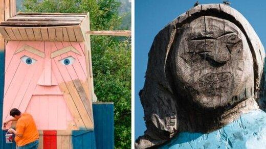 مجسمه چوبی ترامپ در کنار مجسمه عجیب ملانیا جنجال آفرید/ عکس
