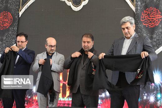 اهتزاز پرچم هزار متری «یاحسین(ع)» در آسمان تهران