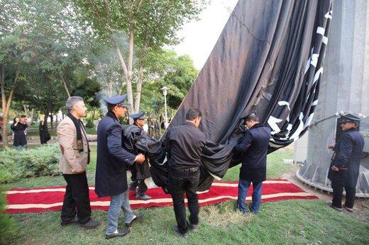 ابر پرچم اباعبدالله الحسین(ع) بر فراز میدان بزرگمهر به اهتزاز درآمد