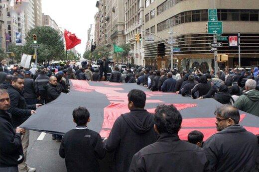 فیلم | برگزاری عزاداری امام حسین(ع) در خیابانهای منتهن نیویورک