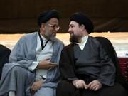 سید حسن خمینی و سید محمود علوی در مراسم شب عاشورای حرم امام خمینی +عکس