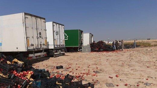 ۷ کامیون گوجه فرنگی و سیب قاچاق ایرانی در عراق اتلاف شد