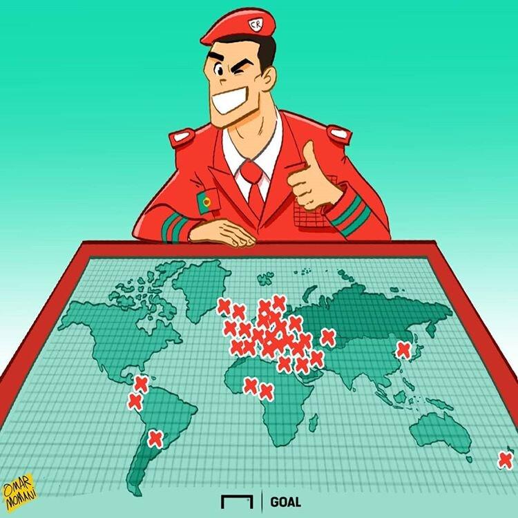 اینم نقشه حملات CR7 به ۴۰ کشور جهان!