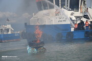 تصاویر | مانور مقابله با آلودگی نفتی در بندر آستارا