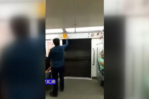 فیلم | حرکت مترو تهران با در باز!