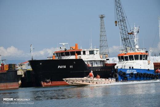 مانور جستجو و نجات و مقابله با آلودگی نفتی دریا در بندر آستارا