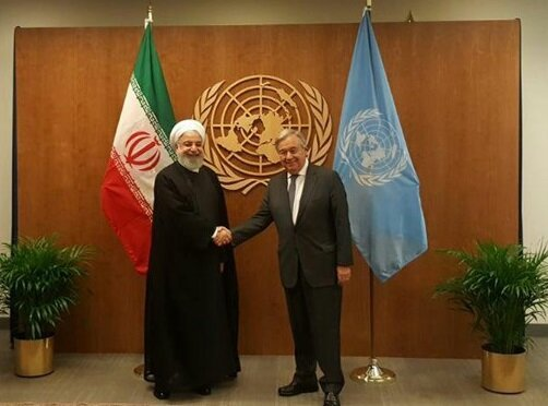 Rouhani confers with UN chief in New York